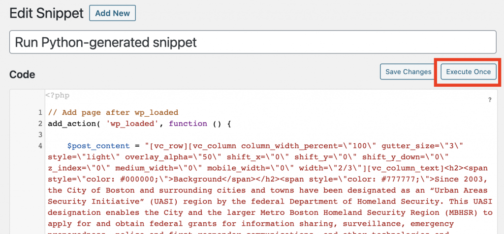 Screenshot of WordPress Code Snippets plugin page, with 'Execute Once' button highlighted